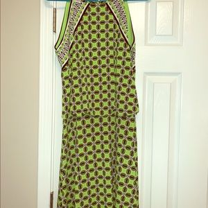 Maggy London Preppy Green Black Patterned Dress